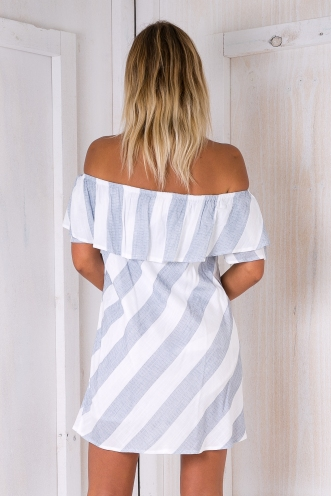 Clara stripe dress - White/Blue-grey