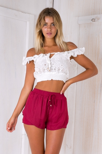 Belle satin shorts- Maroon