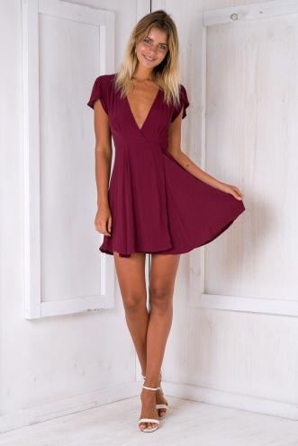 Milly wrap dress -Maroon red