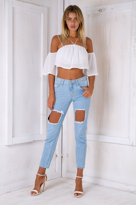 48202085847b6 Oasis ripped jeans- Light blue wash - Stelly