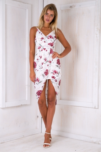 Sari Drape Dress - White Floral-SALE
