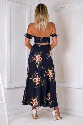 Turkey travels maxi dress - Navy Print