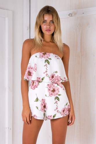 Kate strapless playsuit- White/Pink Floral