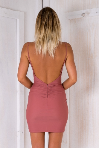 Tilly backless dress - Dusty pink