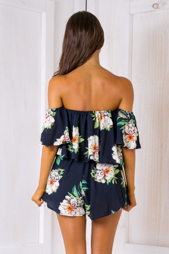 Laura playsuit - Tropical Navy