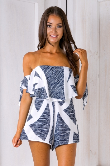 Vera playsuit - White/Navy
