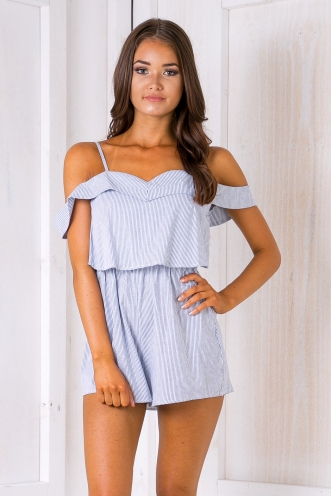 Opal playsuit - Washed Blue stripe
