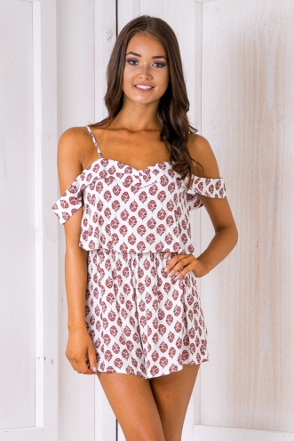 Opal playsuit - Red/White