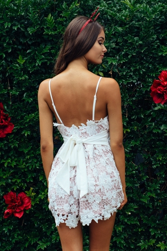 Taylor lace playsuit - White