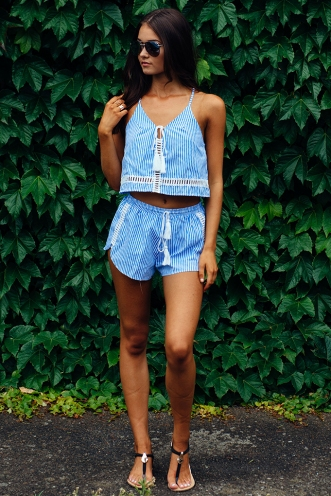 Tara shorts- Blue stripe