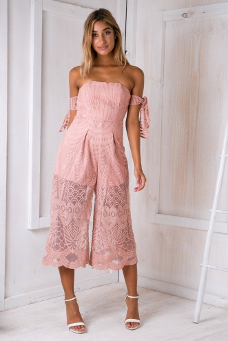 Leah lace jumpsuit - Dusty pink