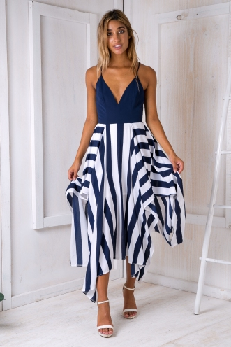 Liana Evening dress - White/Navy stripe