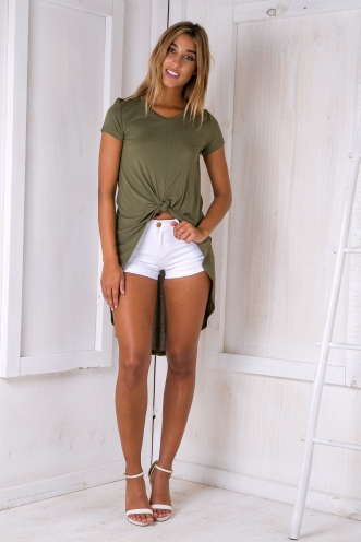 Knot on tee shirt - Khaki