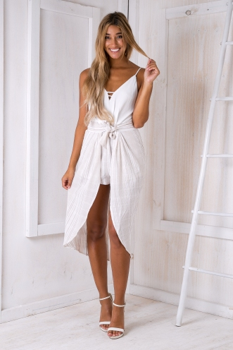 Kayla playsuit - White/Beige-SALE