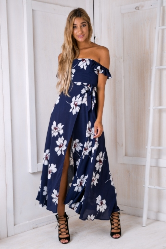 Turkey travels maxi dress - Navy/Grey flowers
