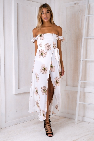 Turkey travels maxi dress - White/Beige flowers