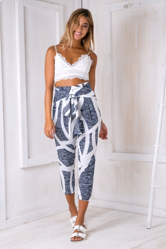 Jessie Tailored Pants -White/Navy