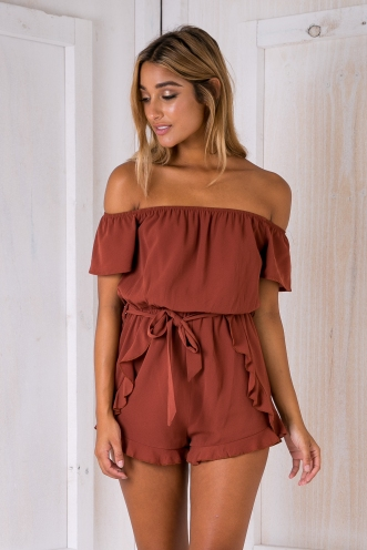 Reagan playsuit - Burnt Brown