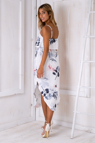 What I want relaxed maxi dress - White/ Pink & grey