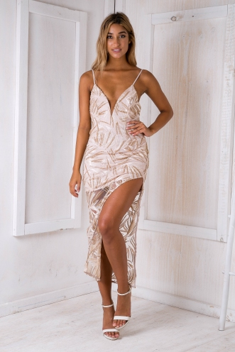 Turning Heads Maxi Dress -Beige/Gold