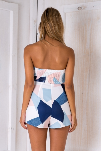 Daphne playsuit - White Navy/Pink