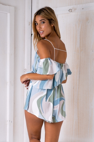 Palm beach playsuit -Green/Beige