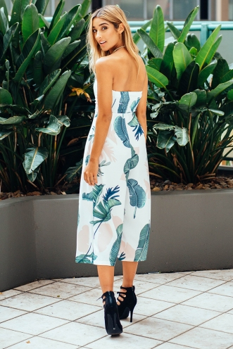Lotus jumpsuit - White/Green palms