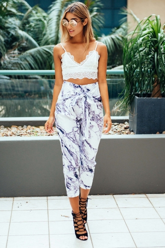 Jessie Tailored Pants -Marble print
