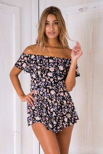 Lucy floral playsuit - Black