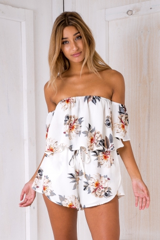 Laura playsuit - White floral