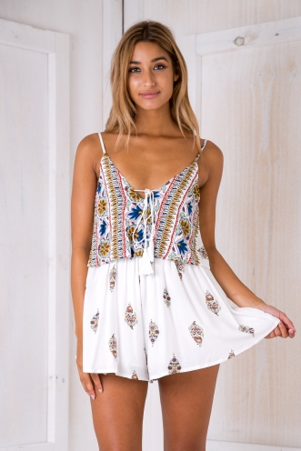 Natalie playsuit- White print