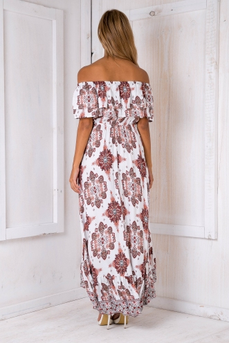 Mimi gypsy dress - White/Burnt red print