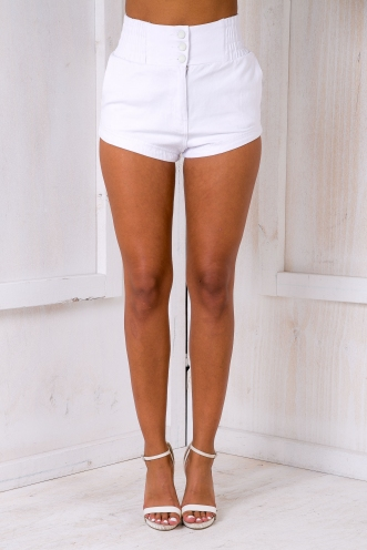 Cora denim shorts - White