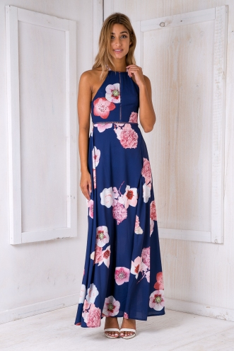 Rosie floral maxi dress -Navy/Pink flowers