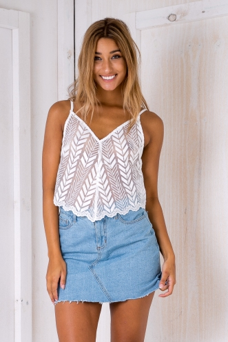 Morgan lace top -White