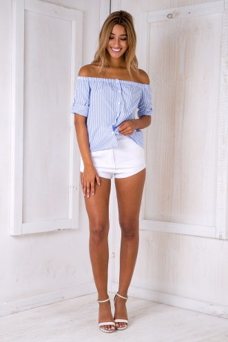 On a boat top -Blue/White stripe
