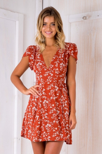 Milly wrap dress -Terracotta floral
