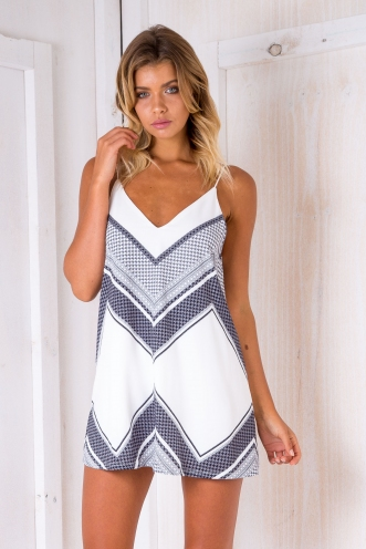 Sage shift dress - White/Navy