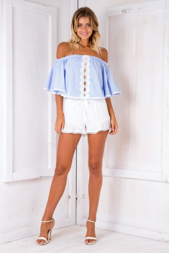 Giselle Crop top - Blue/White