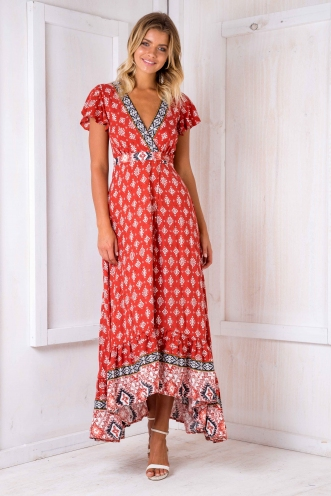 Tess wrap maxi dress -Burnt red print