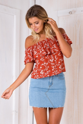 Kyle crop top - Terracotta floral