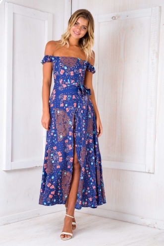 Turkey travels maxi dress - Navy flowers