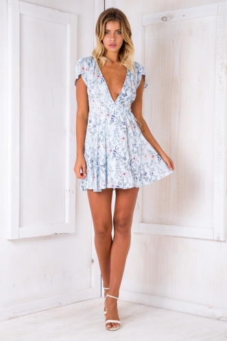 Milly wrap dress -Light Blue floral