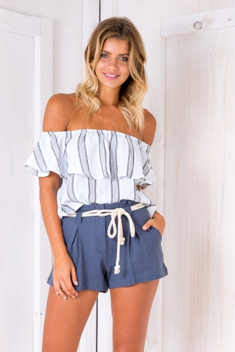 Kyle crop top - Blue/Grey stripe