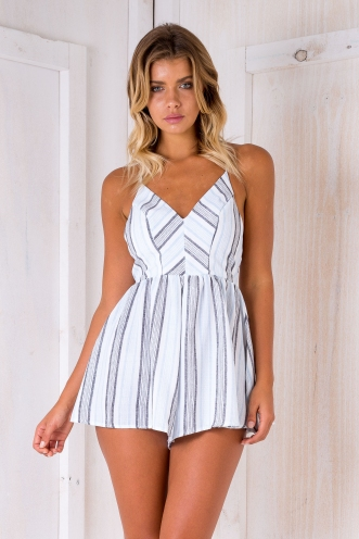 Yolanda playsuit - Blue/Grey stipe