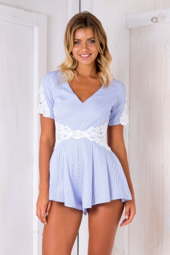 Kate stripe playsuit - White/Blue