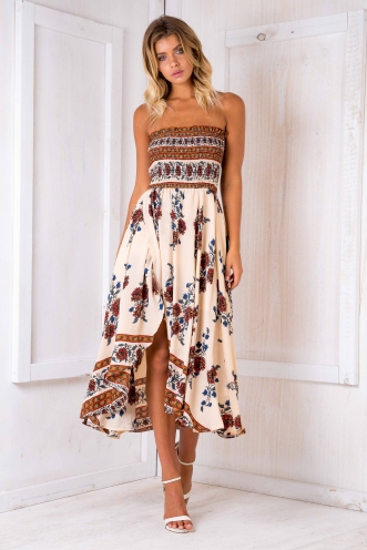 Morocco nights maxi dress - Beige print