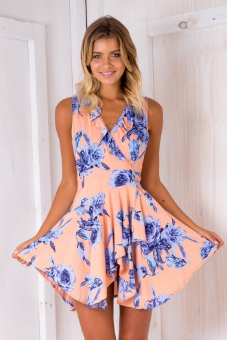 Cass wrap dress - Apricot pink floral