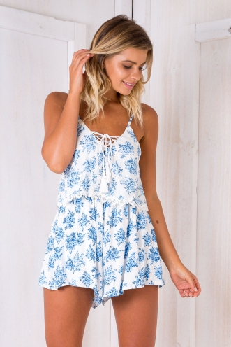 Calla playsuit -White/Blue