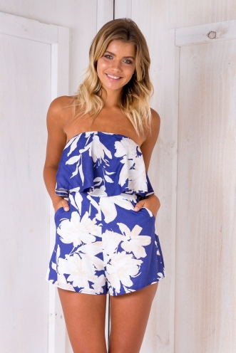 Kate strapless playsuit- Purple blue floral
